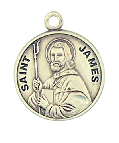 - Sterling Silver Patron Saint James Round Medal Pendant, 7/8 Inch