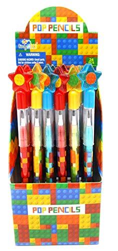 TINYMILLS 24 Pcs Building Blocks Brick Multi Point Pencils