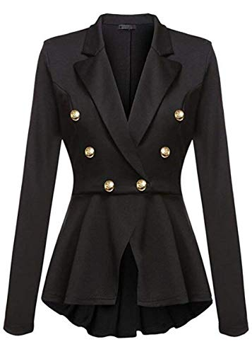 Tailleur Business Eleganti Bavero Mode Cappotto Puro Pieghe Donna Button Fit Moda Manica Autunno Slim Da Blazer Lunga Schwarz Colore Giacche Marca Ufficio Casual Con Giacca Primaverile Di qBT6BE