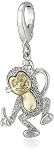 Sterling Silver and 14k Yellow Gold Diamond Accent Monkey Charm