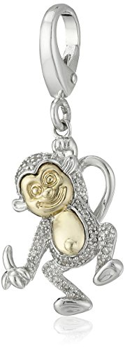 14k Gold Monkey Charm - Sterling Silver and 14k Yellow Gold Diamond Accent Monkey Charm