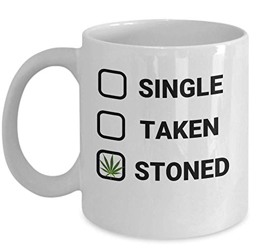 Single Rasta (WEED coffee mug - Single taken stoned - Happy funny marijuana rasta 420 pot gifts for him her - unique party cannabis ganja 11oz ceramic tea cup)