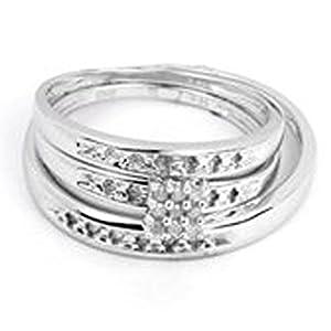 0.07 Carat (ctw) 10K White Gold Round White Diamond Ladies Cluster Engagement Ring Trio Bridal Set