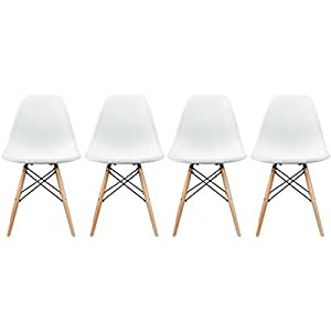 2xhome - Set of Four (4) White - Eames Style Side Chair Natural Wood Legs Eiffel Dining Room Chair - Lounge Chair No Arm Arms Armless Less Chairs Seats Wooden Wood leg Wire leg Dowel Leg Legged Base Chrome Metal Eifel Molded Plastic