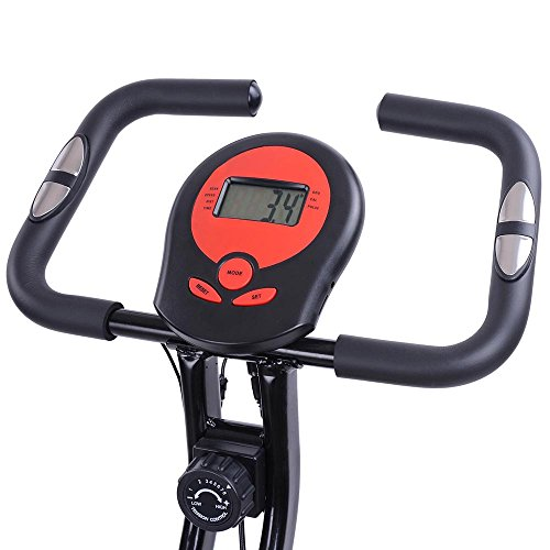 AW Red Folding Magnetic Exercise Bike LCD Display 2.5KG Cast Iron Flywheel Exercise Bike Resistance Adjustment