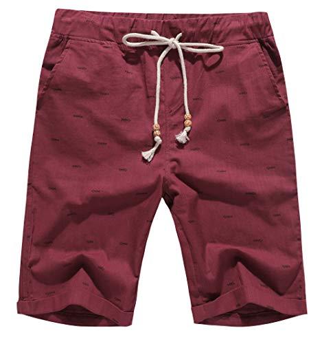 (Boisouey Men's Linen Casual Classic Fit Short Wine Red Fish Bone XL)