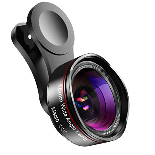 Cell Phone Camera Lens for iPhone and Samsung, Wide Angle & Macro Lens, Clip-On Mobil Phone Camera Lens for iPhone Xs Max XR X 8 7 Plus, for Samsung Galaxy, Android Smartphones (Black and Red)