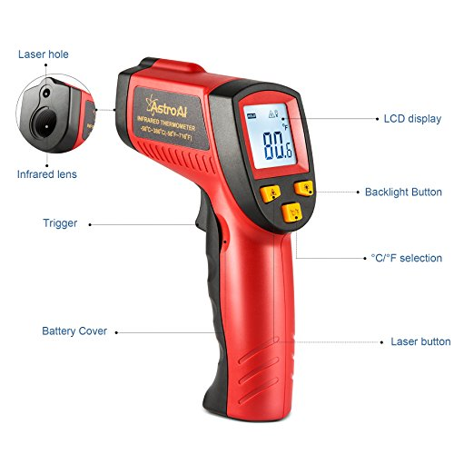 AstroAI Digital Laser Infrared Thermometer, 380 Non-contact Temperature Gun with Range of -58℉~716℉ (-50℃~380℃), Red by AstroAI (Image #2)