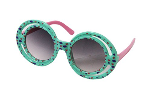 Wholesale Princess Double Round Frame Sunglasses with Heart Pattern (Mint, - Sunglasses Mint