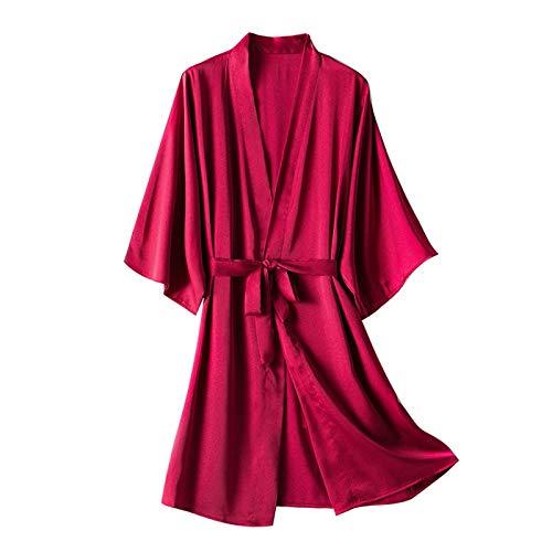 Women Satin Robe 3/4 Sleeve Solid Color Bathrobes Soft and Comfortable Kimono Robes Sleepwear Pajamas