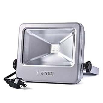 LED RGB Flood Light, LOFTEK NOVA S 30 watts Outdoor Security Floodlight, 6 Levels of Adjustable Brightness and 16-color RGB Lighting Outdoor Waterproof Spotlight with UL listed Plug, Silver