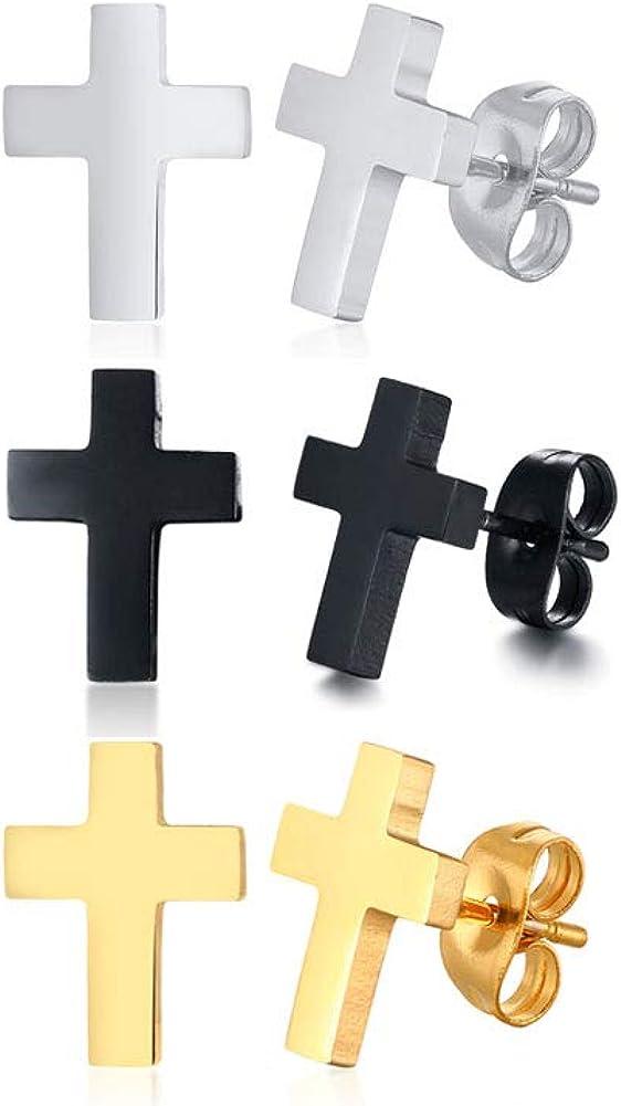 VNOX Stainless Steel Christian Mini Cross Stud Earring Huggie Hoop Earrings for Men Women
