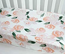 Baby Girls Boy Crib Bedding Changing Pad Cover Changing Table Pads (Blush Watercolor)