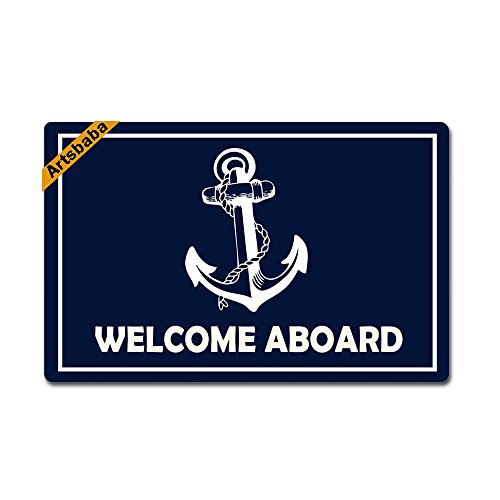Artsbaba Doormat Funny Door Mat Monogram Non-Slip Rubber Doormat Non-Woven Fabric Floor Mat Indoor Entrance Rug Decor Mat 23.6 x 15.7 Inches - Welcome Aboard - Welcome Aboard Mat