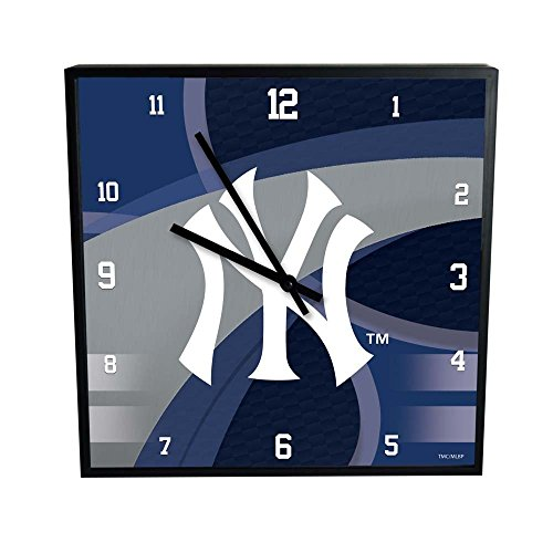 The Memory Company MLB New York Yankees Official Carbon Fiber Square Clock, Multicolor, One Size