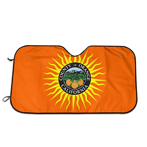 (TPSXXY-WS Flag of Orange County California Windshield Sunshade for Car SUV Truck Foldable UV Ray Reflector Front Window Sun Shade Visor Shield Cover)