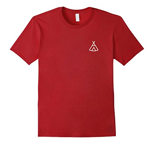 Mens Teepee Pocket Logo T-Shirt Native American Tee XL Cranberry