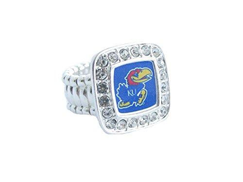 re Kansas Jayhawks KU Clear Crystals Square Fashion Stretch Ring Jewelry ()