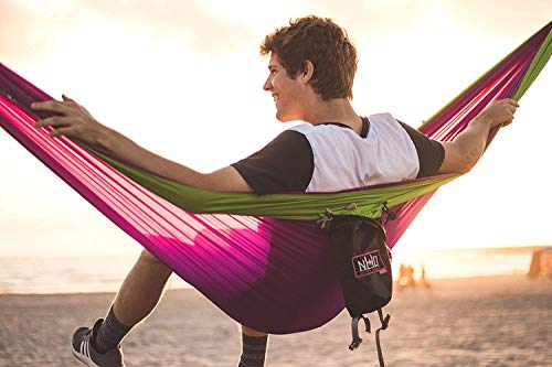 Double Camping Hammock – Portable Two Person Parachute Hammock for Outdoor Hanging. Heavy Duty & Lightweight, Best for Backpacking & Travel. River Edition (Royal Blue/Sky Blue)