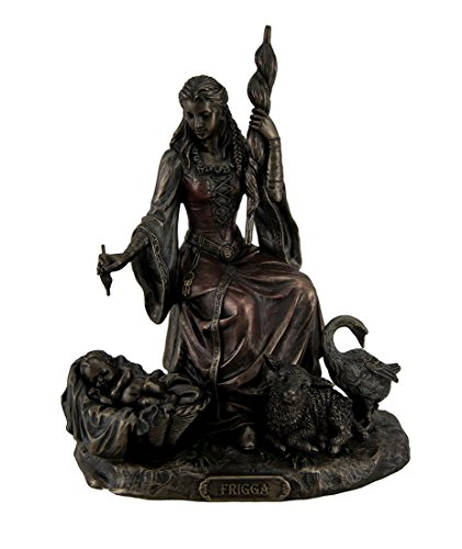Resin Statues Frigga Norse Goddess Of Destiny Love And Marriage W/Infant Animals & Spindle 6 X 7.75 X 4.5 Inches Bronze Model # WU76987A4 -  Unicorn Studios