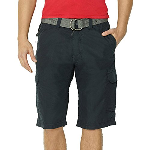 Price comparison product image Schott Mens Cargo Us 30 Multi-Pocket Bermuda Shorts With Belt Black Size Us 36W Fr 44/46