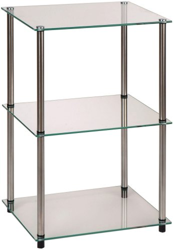 Convenience Concepts Designs2Go Go-Accsense 3-Tier Glass Square End/Lamp Table, Clear Glass (Table Trunk Side Square)