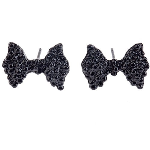 Fashionable Vintage Style Pair of Earrings / Ear Studs With Black Rhinestones Crystals Encrusted Bowknots / Bow Ties Decorations By VAGA®