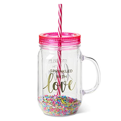 Fun Mason Jar Plastic Cups: Large Break Resistant, BPA Free To-Go Mug with Lid and Handle - Perfect as Party Cups, Kids Travel Cups, Wedding Party Cups (Sprinkled with Love, Single) ()
