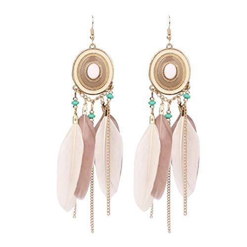 Amaping Natural Long Feather Earring Vintage Boho Handmade Dangle Fashion Hook Earrings for Women Girls (Coffee) (Double Feather Earrings)