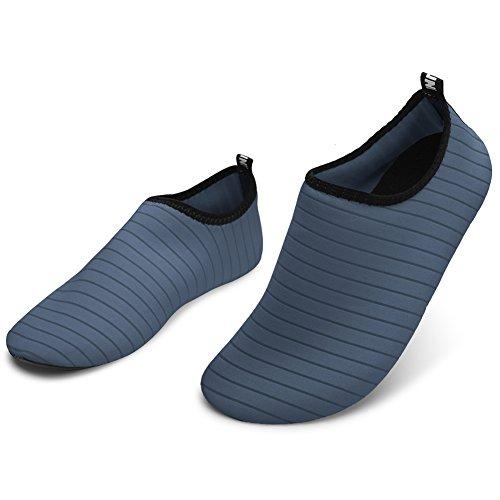 Barerun Barfuß Quick-Dry Wasser Sportschuhe Aqua Socken für Schwimmen Beach Pool Surf Yoga für Frauen Männer Reines Grau