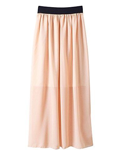 Mesdames Mousseline Mousseline Pliss Femmes Nu Casual Jupe en lgant Jupe Taille lastique Longue Midi Soie de de Soie IwHfPqI1nr