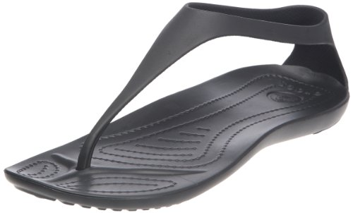 (crocs Women's Sexi Flip, Black/Black, 9 M US)