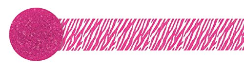amscan Bright Pink Zebra Printed Crepe Streamer | Party Decor