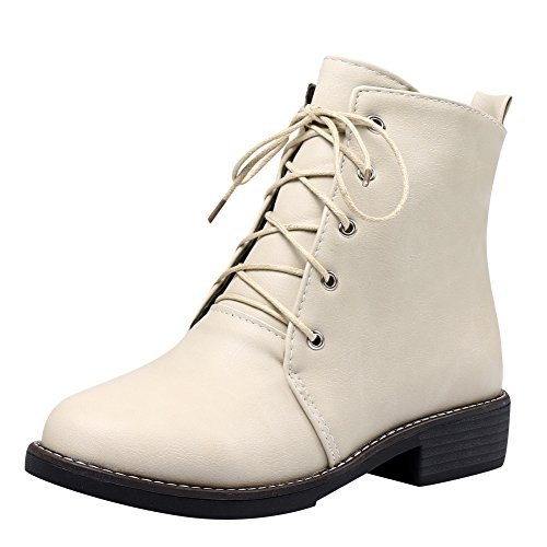 Show Glans Womens Fashion Snörning Chunky Häl Oxford Boots Beige