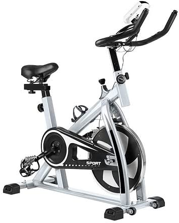 Water-chestnut Update Indoor Exercise Bike, Belt Drive Indoor Exercise Stationary Bike, Stationary Bike with LCD Display and Heart Rate Monitor for Fitness