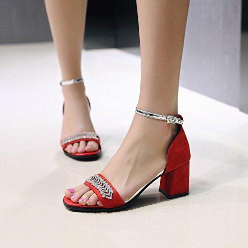 Rhinestones Ankle Sandals Toe Mid Strap Buckle Open Carolbar Heel Womens Red RHxzY