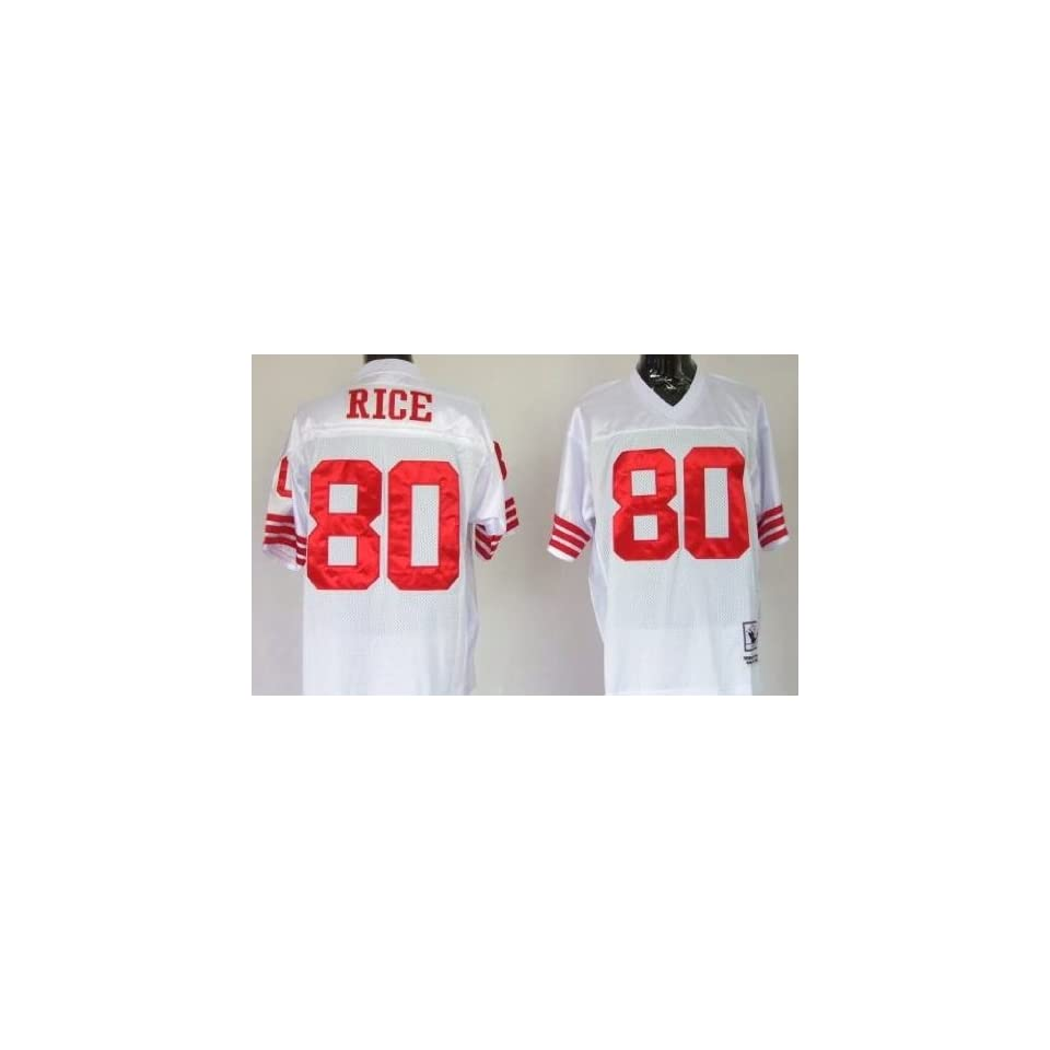 Jerry Rice #80 San Francisco 49ers Replica Throwback NFL Jersey White Size 48 (Med)