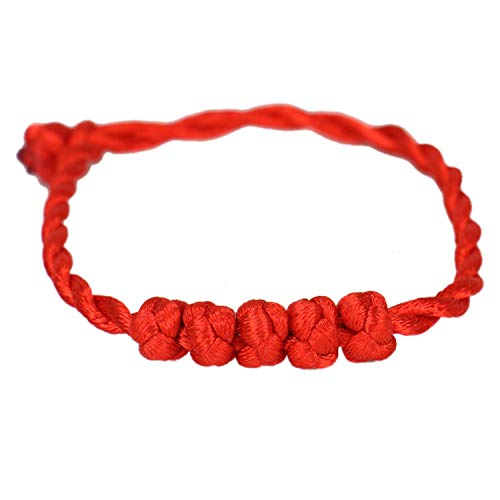HUELE 10 Pcs Handmade Chinese Feng Shui Red String Bracelet Rope Knot Charms for Good Luck ()