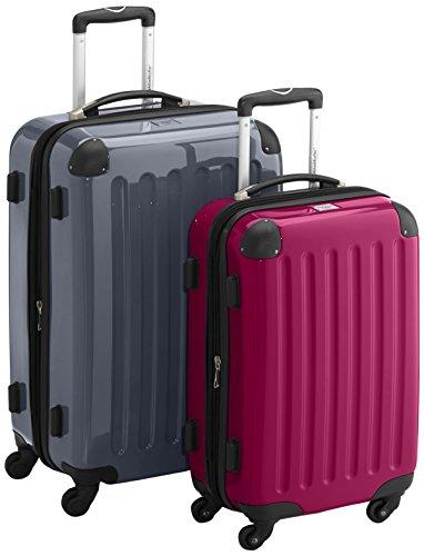 HAUPTSTADTKOFFER - Alex - 2er Koffer-Set Hartschale glänzend, TSA, 65 cm + 55 cm, 74 Liter + 42 Liter, Graphit-Gelb Silber-magenta