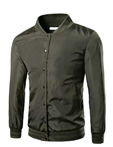 EKU Men's Baseball Bomber Fashion Long Sleeve Coats Varsity Jacket Army Green