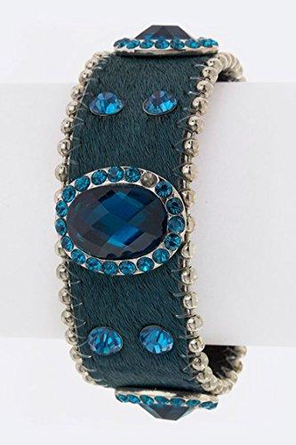 Trendy Fashion Jewelry Oval Stone Bracelet By Fashion Destination   (Teal)