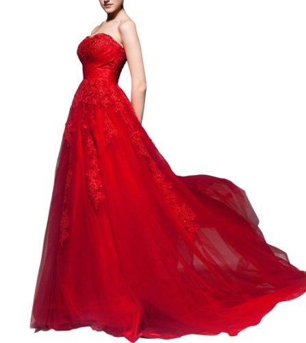 DAPENE® Women's Sweetheart Sequin Sleeveless A Line Train Wedding Dress