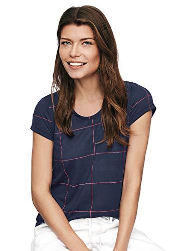 (Ellos Women's Plus Size Printed Cap Sleeve Tee - Navy Window Pane, 2X)
