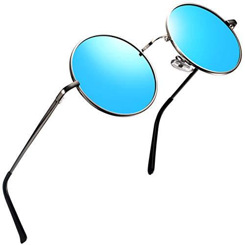 Round Sunglasses for Men Polarized Wearpro Vintage Womens Men's Sun Glasses Hippie Retro Small Circle Glass