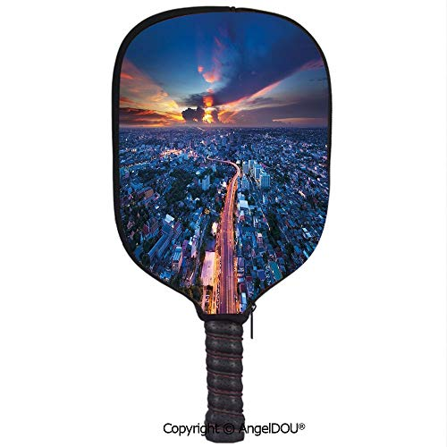 - AngelDOU Urban Lightweight Neoprene Durable Pickleball Paddle Cover Bangkok Skyline at Sunset Evening Thailand Cityscape Metropolis Architectural Photo Holder Sleeve Case Protector.Blue Coral
