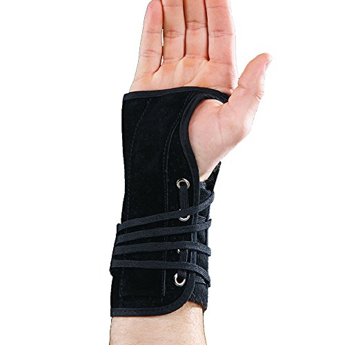 Splint Wrist Lace - Black Suede Cock-Up Lace Wrist Splint Brace Support 8629L 8629R (M , Right)