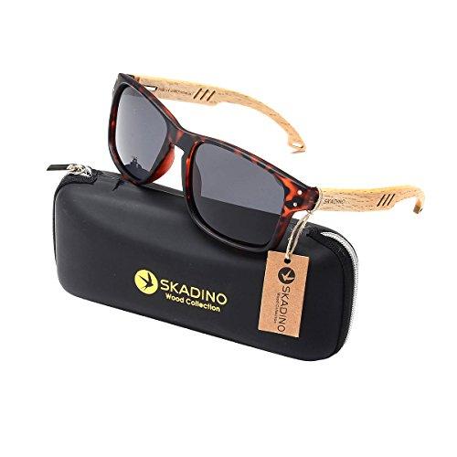 SKADINO Beech Wood Bamboo Sunglasses for Women&Men with Polarized Lens-Tortoiseshell Grey Lens - Grey Sunglasses Tortoiseshell