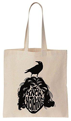 Design Of Jon Snow With Raven, I Know Nothing Sacchetto di cotone tela di canapa