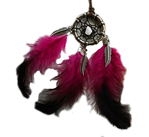 Dreamcatcher Necklace Cotton Cord Stones Feather Handmade Bohemian (DC124Pink) (Handcrafted Hemp Necklace)