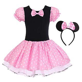 IBTOM CASTLE Toddler Girl Polka Dots Party Fancy Costume Tutu Dress up Dance Leotard Gymnastic Cosplay Cartoon Ear Headband (5-6 Years, Pink)